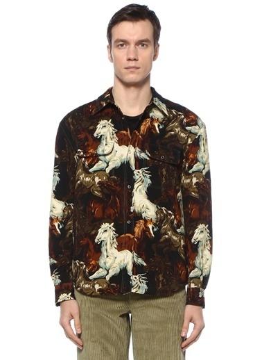 Kenzo Kenzo Chevaux  Polo Yaka Desenli Gömlek 101551102 Renkli